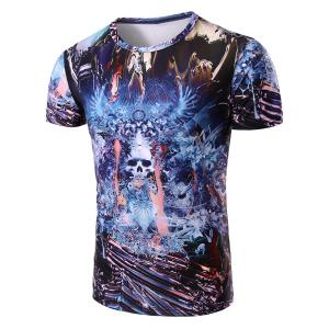Round Neck Skull Abstract 3D Print Pattern Short Sleeve T-Shirt For Men - Colormix - 2xl