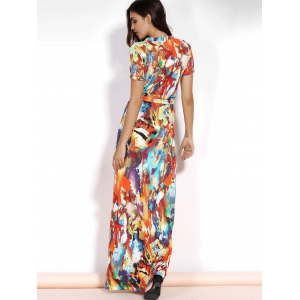 Multicolored Plus Size Maxi Wrap Dress with Short Sleeve - COLORMIX L