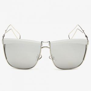 Stylish White Brow and Hollow Out Leg Embellished Sunglasses For Men -