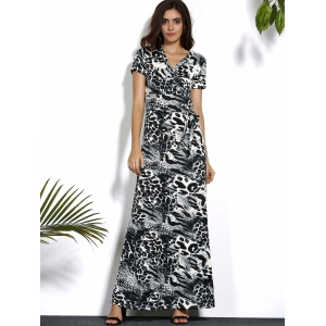Leopard V Neck Maxi Dress with Sleeves -