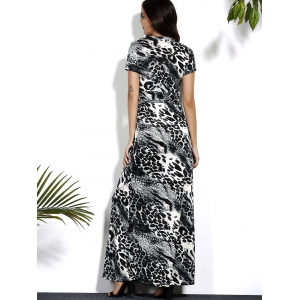 Leopard V Neck Maxi Dress with Sleeves - LEOPARD L