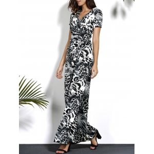 Leopard V Neck Maxi Dress with Sleeves