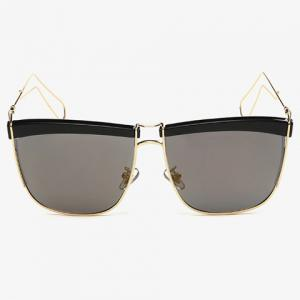 Stylish Black Brow and Hollow Out Leg Embellished Sunglasses For Men - GOLDEN