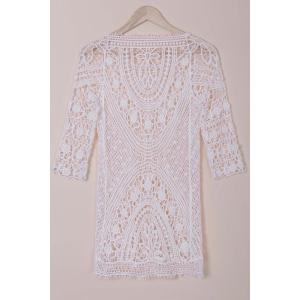 Stylish Round Collar 3/4 Sleeve Cut Out Crochet Cover-Up For Women -