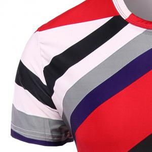 Vogue Round Neck Color Block Stripes Short Sleeve T-Shirt For Men -