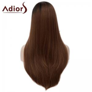 Fashion Long Side Bang Capless Fluffy Natural Straight Black Brown Ombre Synthetic Wig For Women -