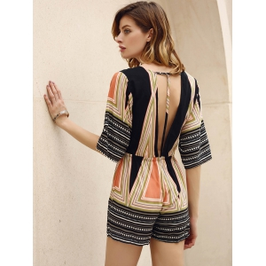 Sexy Plunging Neck 3/4 Sleeve Colored Striped Romper For Women - COLORMIX M