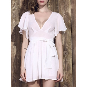 Plunging Neck Half Sleeve Low-Cut Summer Dress