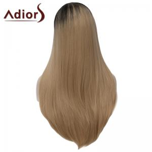 Charming Long Black Blonde Gradient Synthetic Fluffy Straight Tail Adduction Capless Wig For Women -