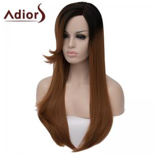 Vogue Straight Capless Elegant Long Black Gradient Brown Synthetic Wig For Women -