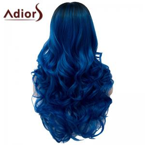 Fashion Black Ombre Blue Capless Fluffy Long Wavy Middle Part Synthetic Wig For Women -
