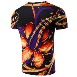 Round Neck Floral 3D Print Short Sleeve T-Shirt For Men - COLORMIX M