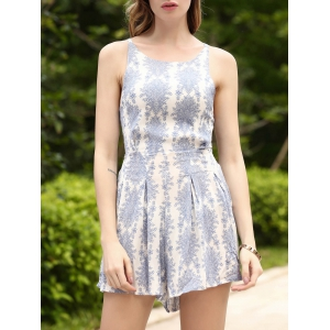 Refreshing Printed Backless High Waist Romper For Women - Light Blue - S