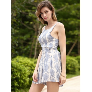 Refreshing Printed Backless High Waist Romper For Women -