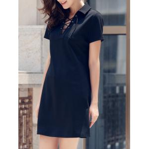 Lace-Up Short Sleeve Polo T-shirt Casual Dress - Black - L