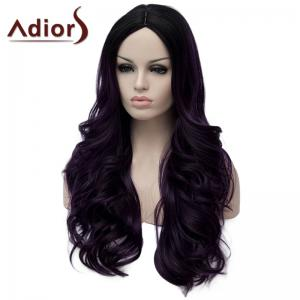Stunning Purple Highlight Synthetic Shaggy Long Wavy Capless Wig For Women -