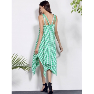 Spaghetti Strap Sleeveless Plaid Asymmetrical Summer Dress -
