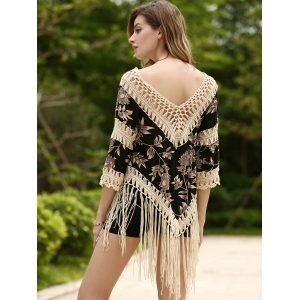 Long Fringe Printed Beach Tunic Cover Up -
