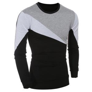 Casual Color Block Long Sleeves T-Shirt For Men
