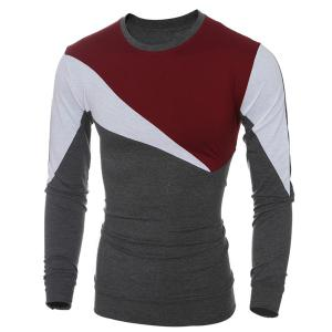 Casual Color Block Long Sleeves T-Shirt For Men - WINE RED M