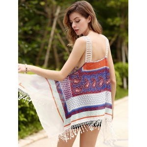 Ethnic Strappy Fringed Print Chiffon Top For Women -
