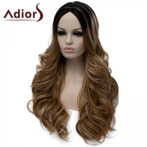 Fluffy Wavy Light Brown Highlight Synthetic Stylish Long Middle Part Wig For Women -