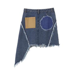 Women's Patched Asymmetric Denim Skirt -