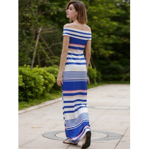 Striped Off The Shoulder Maxi Dress -