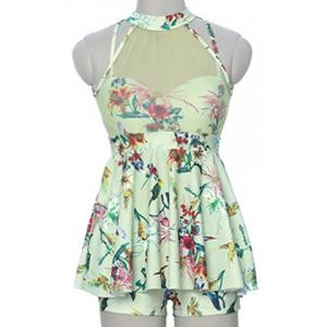Sweet Style Stand-Up Collar Floral Print See-Through Criss-Cross Swimsuit For Women -