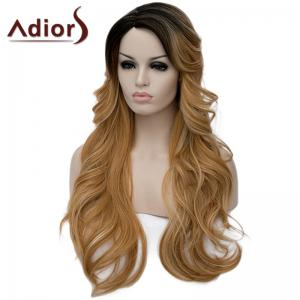 Charming Side Parting Synthetic Shaggy Long Wave Black Ombre Blonde Capless Wig For Women -