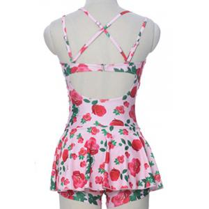 Sweet Style Strappy Floral Print Criss-Cross Two-Piece Swimsuit For Women -