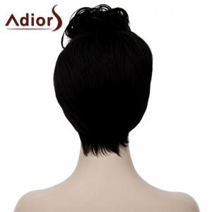 Fluffy Straight Synthetic Fashion Black Short Adiors Hair Bump Wig For Women -