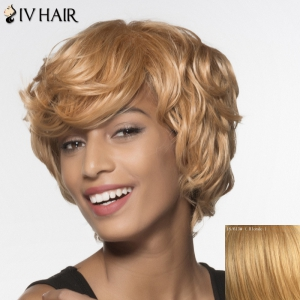 Stylish Siv Hair Curly Short Human Hair Wig For Women