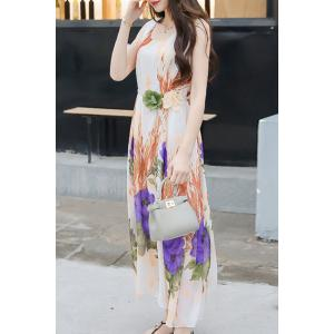 Refreshing Scoop Neck Sleeveless Floral Printed Tie Belt Dress For Women -