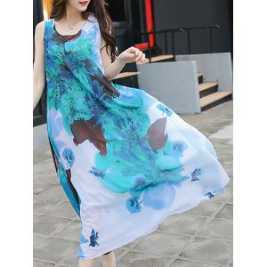 Casual Scoop Neck Sleeveless Tie Belt Floral Printed Chiffon Dress For Women -