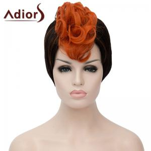 Attractive Orange Highlight Short Capless Fluffy Synthetic Curly Bump Wig For Women