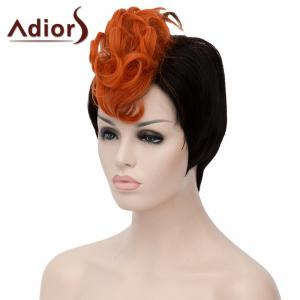 Attractive Orange Highlight Short Capless Fluffy Synthetic Curly Bump Wig For Women - BLACK AND ORANGE