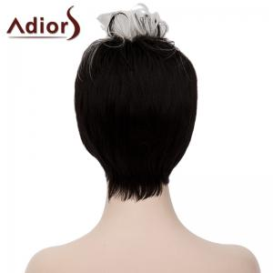 Fashion Short Capless White Highlight Synthetic Fluffy Curly Bump Wig For Women - WHITE/BLACK