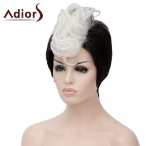 Fashion Short Capless White Highlight Synthetic Fluffy Curly Bump Wig For Women -
