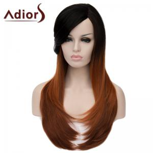 Charming Long Natural Straight Synthetic Vogue Side Bang Black Brown Ombre Capless Wig For Women -