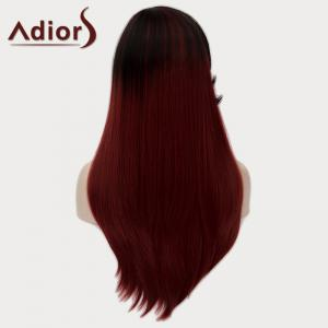 Fashion Side Bang Natural Straight Synthetic Elegant Long Black Ombre Wine Red Wig For Women -