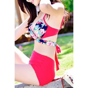 Chic High Waisted Tiny Floral Print Four-Piece Swimsuit For Women - BLUE/PINK M