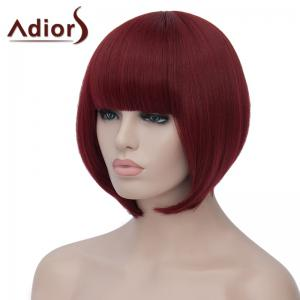Charming Short Straight Capless Bob Style Full Bang Synthetic Wig For Women - WINE RED