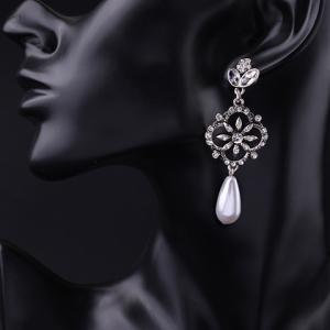 Pair of Stylish Faux Crystals Rhinestone Decorated Flower Water Drop Earrings For Women -