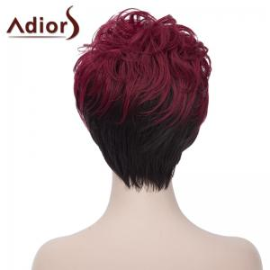 Attractive Short Fluffy Natural Wave Synthetic Side Bang Wine Red Ombre Black Wig For Women - RED/BLACK