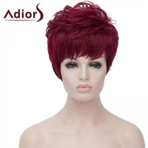 Attractive Short Fluffy Natural Wave Synthetic Side Bang Wine Red Ombre Black Wig For Women - Red With Black - 14inch
