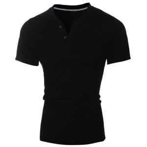 Laconic V-Neck Button Design Short Sleeve T-Shirt For Men