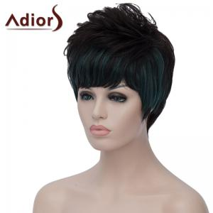 Stylish Green Highlight Side Bang Capless Bouffant Natural Wave Short Synthetic Wig For Women - BLACK/GREEN