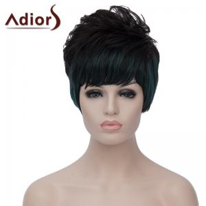 Stylish Green Highlight Side Bang Capless Bouffant Natural Wave Short Synthetic Wig For Women - Black And Green