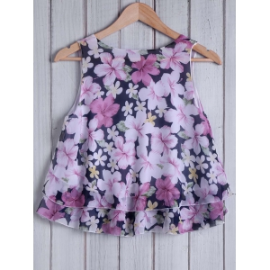 Refreshing Round Collar Floral Print Loose-Fitting Women's Tank Top -